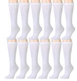 12 Pair Of excell Womens White Cotton Extra Heavy Slouch Sock - Womens Crew Sock