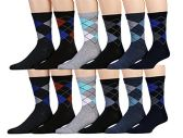 12 Pairs of excell Mens Dress Socks, Patterned Stylish Cotton Blend (Pack C) - Mens Dress Sock