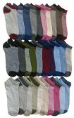 30 Pairs of WSD Womens Ankle Socks, Low Cut Sports Sock - Assorted Styles (Thin Stripes)