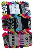 30 Pairs of WSD Womens Ankle Socks, Low Cut Sports Sock - Assorted Styles (Animal Print)