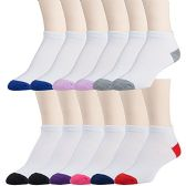 12 Pairs of excell Womens Flat Knit Athletic No Show Ankle Socks, Assorted, 9-11 (White/Colorful Heel and Toe) - Womens Ankle Sock