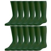 12 Pairs of excell Girls Fancy Cable Knit Knee High Socks, Solid Colors, Uniform Socks (Hunter Green, 8-9.5) - Girls Knee Highs