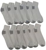 12 Pairs of Men's Quarter Length Low Cut Ankle Socks, Cotton (White with gray heel and toes)