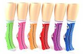24 Pairs Pack of WSD Women's Novelty Crew Socks, Value Pack, Fun Socks (Sneaker Print , 9-11) - Womens Crew Sock