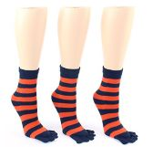 24 Pairs Pack of WSD Women's Toe Socks, Value Pack, Casual Socks (Blue & Orange Striped Print, 9-11) - Women's Toe Sock