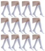 12 Pairs of excell Girls Knee High Socks, Solid Colors (White)