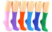 24 Pairs Pack of WSD Women's Novelty Crew Socks, Value Pack, Fun Socks (Solid Colors, 9-11) - Womens Crew Sock