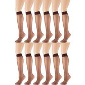 12 Pairs of excell Trouser Socks for Women, 60 Denier Opaque Knee High Dress Socks (Coffee)