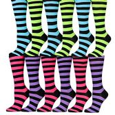 12 Pairs of WSD Womens Knee High Socks Assorted Colors, Cotton Boot Socks (Assorted (Colorful Stripes)) - Womens Knee Highs