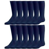 12 Pairs of excell Girls Fancy Cable Knit Knee High Socks, Solid Colors, Uniform Socks (Navy, 8-9.5) - Girls Knee Highs