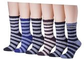 6 Pairs Of excell Mens Soft Warm Fuzzy Socks (Striped) - Men's Fuzzy Socks
