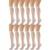 12 Pairs of excell Trouser Socks for Women, 60 Denier Opaque Knee High Dress Socks (White) - Womens Dress Socks