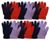 12 Pairs Of excell Womens Soft Warm And Fuzzy Solid Color Winter Gloves - Fuzzy Gloves