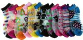 12 Pairs Of excell Women's Light Weight Mesh Printed Ankle Socks, Sock Size 9-11 - Womens Ankle Sock