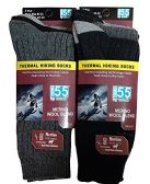 6 Pair of Excell Merino Wool Thermal Hiking Winter Warm Socks (Mens (10-13), Assorted A)