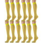 12 Pairs of excell Trouser Socks for Women, 20 Denier Knee High Dress Socks (Yellow) - Womens Dress Socks