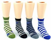 24 Pairs Pack of WSD Kid's Crew Socks, Value Pack, Novelty Socks (Striped Dinosaur Print, 6-8) - Boys Crew Sock