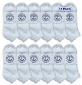 12 Pairs Of excell Womens White Low Cut Cotton Sport Ankle Socks - Womens Ankle Sock