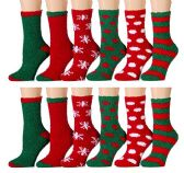 Excell Ladies Christmas Printed Holiday Socks (Assorted 12 Pack A) (Assorted 12 Pack B) - Womens Fuzzy Socks
