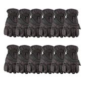 12 Pack of excell Mens Winter Warm Waterproof Ski Gloves, One Size Fits All (Black) - Ski Gloves