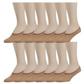12 Pairs of No Show Foot Liner Socks for Women, Sheer Microfiber Hidden Sock (Nude) - Womens Ankle Sock