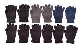 12 Pairs Of SOCKSNBULK Solid Color Wool Gloves - Mens Womens, Stretchy so One Size - Knitted Stretch Gloves
