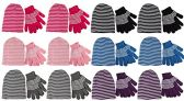 excell Ladies 2 Piece Set Of excell Striped Winter Glove And Hat Set Assorted Colors (12 Pack Assorted) - Winter Sets Scarves / Hats / Gloves