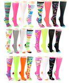 24 Pairs Pack of WSD Women's Knee High Socks, Value Pack, Novelty Socks (Assorted Neon Prints, 9-11) - Womens Knee Highs
