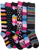 6 Pairs Of Mod And Tone Woman Designer Knee High Socks, Boot Socks (Pack A)
