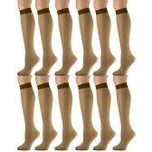 12 Pairs of excell Trouser Socks for Women, 20 Denier Knee High Dress Socks (Gold) - Womens Dress Socks