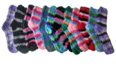 excell Womens Fuzzy Socks Crew Socks, Warm Butter Soft, 12 Pair Pack, Stripes B, 9-11 - Womens Fuzzy Socks