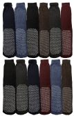 12 Pairs Of excell Mens Assorted Non Skid Slipper Socks #5895-10-13, Assorted Colors - Mens Thermal Sock
