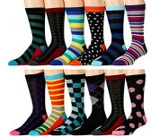 12 Pairs of excell Mens Fashion Designer Dress Socks, Cotton Blend (Assorted K) - Mens Dress Sock