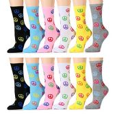 WSD Womens Value Pack Printed Crew Socks Many Colors, Soft Touch Fun Prints (Pack G) - Womens Crew Sock