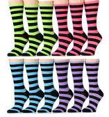 240 Units of Yacht & Smith Ladies Thin Cotton Striped Crew Socks, Size 9-11 - Womens Crew Sock
