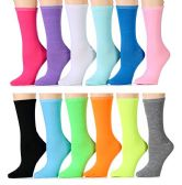 WSD Womens Value Pack Printed Crew Socks Many Colors, Soft Touch Fun Prints (Pack a) - Womens Crew Sock