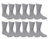12 Pairs of Excell Women Crew Socks, Quality Ringspun Cotton Soft Athletic Socks (Gray) - Womens Crew Sock