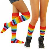 3 Pairs excell Ladies Rainbow Stripe Over The Knee Sock, Clown Socks