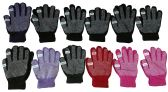 12 Pair excell Womens Winter Gripper Glove With Pop Off Fingers For Texting - Conductive Texting Gloves
