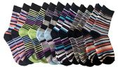 excell Boys Dress Socks, 12 pairs, Striped Colorful Fancy Cotton Socks (6-7) - Mens Dress Sock