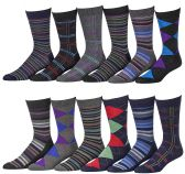 12 Pairs of excell Mens Fashion Designer Dress Socks, Cotton Blend (2600) - Mens Dress Sock