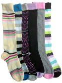 6 Pairs Of Mod And Tone Woman Designer Knee High Socks, Boot Socks (Pack B)