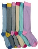 6 Pairs Of Mod And Tone Woman Designer Knee High Socks, Boot Socks (Pack C) - Womens Knee Highs
