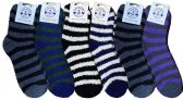 6 Pairs Of Excell Mens Soft Warm Fuzzy Socks Striped - Men's Fuzzy Socks
