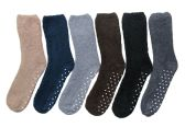 6 Pairs Of excell Mens Soft Warm Fuzzy Socks (Gripper Bottom) - Men's Fuzzy Socks
