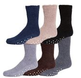 Mens Gripper Bottom Warm And Comfortable Fuzzy Socks, 6 Pack By excell - Men's Fuzzy Socks