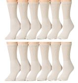 12 Units of Yacht & Smith Women's Diabetic Crew Socks, Ring-spun Cotton Tan - Women's Diabetic Socks