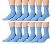 12 Pair Of excell Ladies Blue Diabetic Neuropathy Socks, Sock Size 9-11 - Women's Diabetic Socks