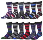 12 Pairs of excell Mens Fashion Designer Dress Socks, Cotton Blend (2700)