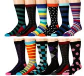 12 Pairs of excell Mens Colorful Designer Dress Socks, Cotton Blend (Pack H) - Mens Dress Sock